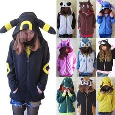 Kawaii Anime Animal Pikachu Zip Hoody Jacket Hoodie With Ears Polar Fleece.*+