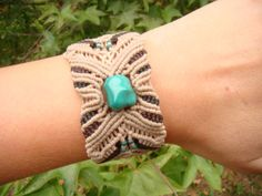 Macrame bracelet with turquoise, glass, wood and bone beads FREE SHIPPING within the United States