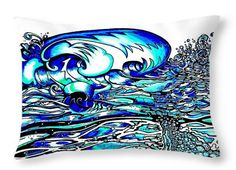 DECORATIVE THROW PILLOW 14 x14 Huge Wave & Surf Art. Ocean art, Abstract Surfer Wave.