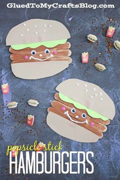 Popsicle Stick Hamburger Friends - Kid Craft Idea - Summer Camps, Family Barbecue Craft Pinned by : Cute Kids Crafts, Summer Crafts For Kids, Daycare Crafts, Summer Kids, Toddler Crafts, Preschool Crafts, Diy For Kids, Summer Crafts For Preschoolers, Toddler Art Projects