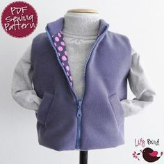 Download Simple Vest for Boys and Girls - 12 months to 8 years - PDF Pattern and Instructions Sewing Pattern | Lily Bird Studio | YouCanMakeThis.com