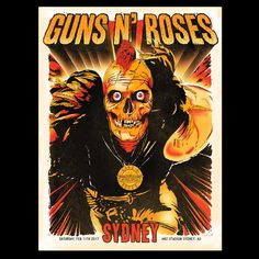 2017 Guns N' Roses - Sydney Australia, Posters Australia, Australia 2017, Sydney Australia, Guns N Roses, Rock Roll, Axl Rose 2016, Rock Band Posters, Psychedelic Music, Heavy Metal Rock