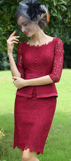 eDressit Burgundy Lace Mother of the Bride Women's Dress Dress Brukat, Batik Dress, Lace Dress, Trendy Dresses, Simple Dresses, Beautiful Dresses, Myanmar Traditional Dress, Traditional Dresses, Kebaya Lace
