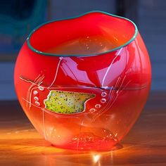 Chihuly Ruby Soft Cylinder with Drawing Shard and Teal Lip Wrap