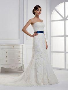 Sheath/Column Strapless Lace Satin Court Train White Sashes / Ribbons Wedding Dresses at Msdressy