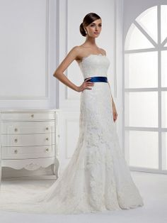 Sheath/Column Strapless Lace Satin Court Train White Sashes / Ribbons Wedding Dresses at Msdressy