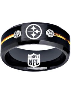 a72b45a81c4b Pittsburgh Steelers Ring Black and Gold Steelers Logo Ring 8mm tungsten  ring, sizes6 - 13