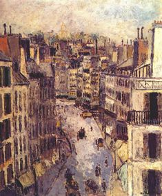 Rue Lepic Maurice Utrillo was a French painter who specialized in cityscapes. Born in the Montmartre quarter of Paris, Utrillo is one of the few famous painters of Montmartre who were born there.