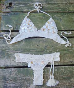 Swimwear – Wedding Crochet Seashell Bikini,Bottom,Ivory. – a unique product by takkabeachwear on DaWanda