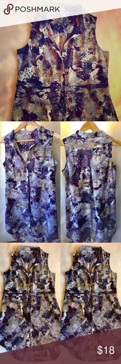 Short Summer Dress Multi colored purple/olive, sleeveless, collared, button up dress. Front pocket with a tie around the waist. Like new, worn once. Olive & Oak Dresses Mini