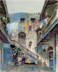 Original concept art for Disneyland's New Orleans Square. Walt Disney passed away shortly after its opening in Jul Planet Coaster, Walt Disney Imagineering, Old Disney, Disney Time, Disney Concept Art, Vintage Disneyland, Disney Magic Kingdom, Disney Posters, Disney Sketches