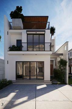 Casa pequena com três pavimentos e área externa valorizada Minimalist House Design, Minimalist Home, Modern House Design, Simple House Design, Modern Contemporary House, Narrow House Designs, Duplex Design, Modern Houses, Home Design