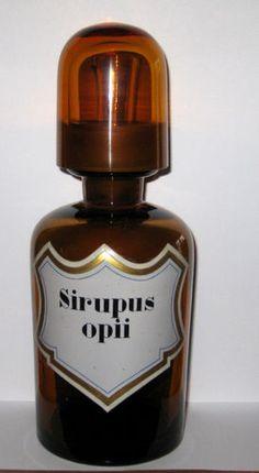 19th C Bottle Enameled Label Sirupus Opii: Syrup of Opium