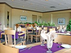 Bishop's Landing Restaurant is always a bright and sunny place to enjoy your complimentary continental breakfast. Continental Breakfast, Best Western, Landing, Restaurants, Bright, Table Decorations, Beach, Places, Furniture