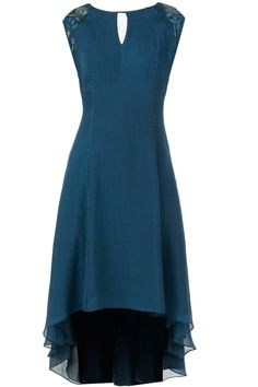 Teal asymmetrical dress available only at Pernia's Pop-Up Shop.