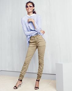 AUG '15 Style Guide: J.Crew women's Thomas Mason® for J.Crew bib top, slim cargo pant in stretch chino, Cutler and Gross® 0740G aviator sunglasses and high-heel ankle-strap sandals.