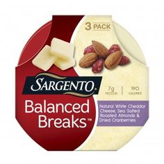Love these balanced 200-calorie snack trays with cheese, dried fruit, and nuts.