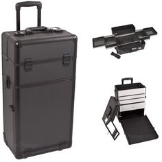 30 inch Black Dot Pattern Professional 2 in 1 Detachable Cosmetics Travel Makeup Trolley w/ 4 Easy Slide Trays   3 Aluminum Drawers -- See this great product. (Note:Amazon affiliate link) #weddingMakeup