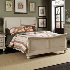 The Rustic Traditions II bedroom set includes a king sleigh bed. a dresser. a mirror. a night stand and a chest. Decorate your bedroom with a classic Louis Philippe Styling with the Rustic Traditions II Bedroom Set. Each piece is made from po. White Bedroom Set Furniture, Modern Bedroom, Bedroom Collection, Bedroom Furniture Sets, Furniture, Home Furniture, Childrens Bedroom Furniture Sets, Liberty Furniture, Home Decor