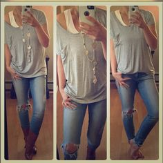 Slouchy Soft pocket tee Soft grey pocket tee. Beautiful soft stretch. One of my fave brands Tops