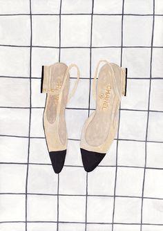 Chanel classic two-tone slingback By Sainte Maria