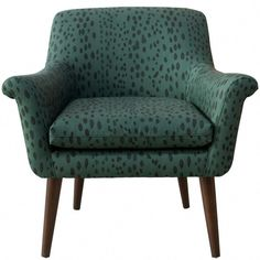 Modern meets traditional with the Skyline Furniture Linen Leopard Modern Armchair . With cotton and polyester foam filled cushions, this armchair. Leopard Print Chair, Chair Types, Modern Armchair, Furniture Legs, Green Pattern, Adulting, Living Spaces, Living Rooms, Accent Chairs