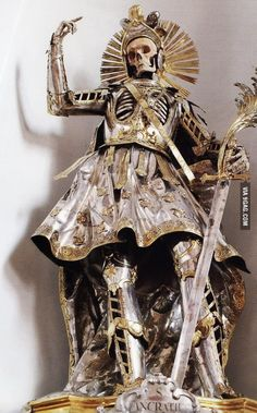 The armored skeleton of Saint Pancratius at the Church of St Nikolaus in Switzerland