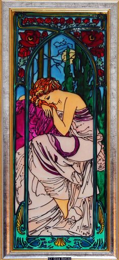 """Olia Bseiso - Night This hand painted glass piece depicts Alphonse Mucha's """"La Nuit"""". Art Nouveau."""