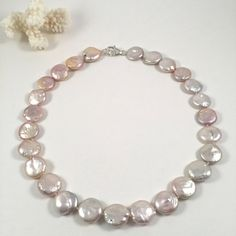 Pink Coin Freshwater Pearl Necklace, Pink Coin Pearl Choker by JiaojiaosPearls on Etsy