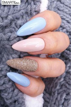 nails pink and blue ~ nails pink ; nails pink and white ; nails pink and black ; nails pink and blue ; nails pink and gold Almond Nails Designs, Acrylic Nail Designs, Nail Art Designs, Fingernail Designs, Hair And Nails, My Nails, Fall Nails, Summer Nails, Acrylic Nails For Summer Almond