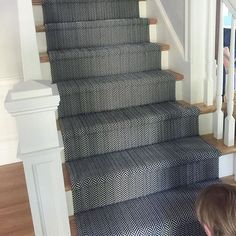 For back stairs. Dash and albert. Clients new stair runner, can never go wrong with… Stair Runner Carpet, Home, Living Room Carpet, Storing Paint, Staircase Design, Herringbone Rug, Dash And Albert Rugs, Stairways, House Interior