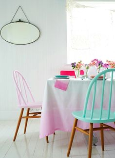 Half painted chairs and ombre table cloth Painted Chairs, Painted Furniture, Diy Furniture, Wooden Chairs, Dipped Furniture, Kitchen Furniture, Painted Wood, Kitchen Chairs, Dining Chairs