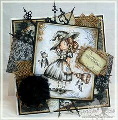 "Vintage Witchy by Suzanne J Dean of ScrapBitz...uses a Wee Stamp ""Hazel"""