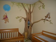 Nice Looking Nursery Room Decor For Twin Babies With Vintage Crib And Playful Winnie The Pooh And Owl Wall Decals : Playful Winnie The Pooh Decorations for Toddler and Nursery Room