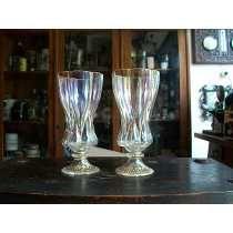Antiguo Par De Copas En Cristal Veneciano Con Firma