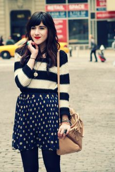 Flashes of Style  striped sweater + polka dot skirt + oxfords