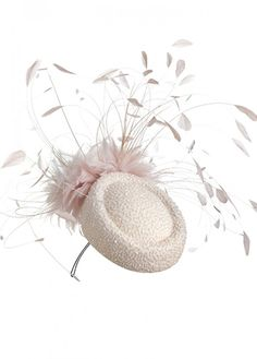 Nude embellished pillbox hat with stripped coque feather detail