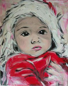 Bébé de Noël, acrylique sur toile, par Em Lacrylic.