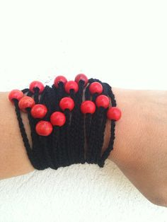 Gothic Black Handcrochet  Rope Bracelet with red by ArtofAccessory, $15.00