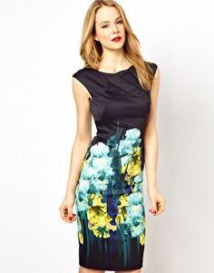 Karen Millen Body-Conscious Dress with Iris Placement Print - 280.64