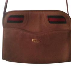 1f2d32070c8 Rare Vintage Webbing Carmel Neutral Brown Leather Shoulder Bag