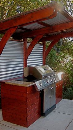 Covered Ramada With Gas BBQ Fire Place TV And Seating . 25 Inspirations Of Wooden Patio Outdoor Grill Gazebo. Open Concept Outdoor Kitchen Situated In A Brick Patio . Home Design Ideas Outdoor Kitchen Grill, Outdoor Kitchen Countertops, Outdoor Kitchen Design, Patio Grill, Patio Bar, Bar Grill, Outdoor Grill Area, Outdoor Grill Station, Outdoor Grilling