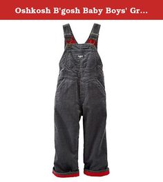 Oshkosh B'gosh Baby Boys' Grey Corduroy Overalls (9 Months). A winter version of our genuine article, these corduroy overalls are equipped with a comfy jersey lining all the way up to the straps. Roll the ankle cuffs up and pair these with a flannel for a classic workwear style. Adjustable shoulder straps for a perfect fit Real metal hardware lasts wash after wash Sizes 6M-24M: snaps along legs for easy on & off Red jersey lining keeps him extra warm Lots of pockets for his treasures...