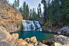 The middle cascade of the three-tiered McCloud Falls in Shasta Cascade region of California