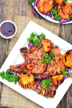 Barbecue Pork Chops with Grilled Peaches