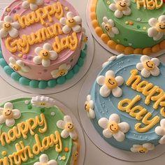 Pretty Birthday Cakes, Pretty Cakes, Picnic Cake, Simple Cake Designs, Simple Birthday Cake Designs, Korean Cake, Pastel Cakes, Cute Baking, Frog Cakes