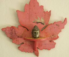 Upcycled pink decoupaged leaf shaped wall shelf with by sassoart, $35.00