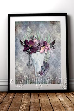 Beautiful boho chic fine art print for your alternative home decor #RockChicBoutique #Boho #Skulls #WallArt