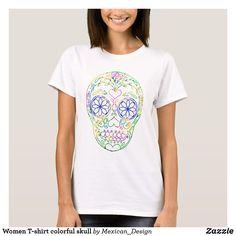Women T-shirt colorful skull
