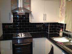 Black Kitchen Wall Tiles High Gloss Glossy